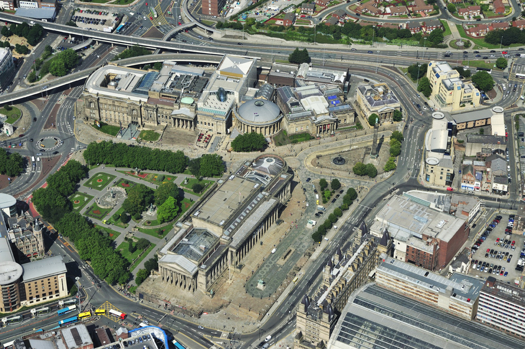 Aerial pic of Churchill Way Flyovers - from Lime Street perspective