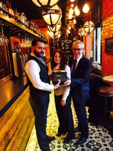 Bill Addy and Sue Weir donate CardiAct defib to Fazenda