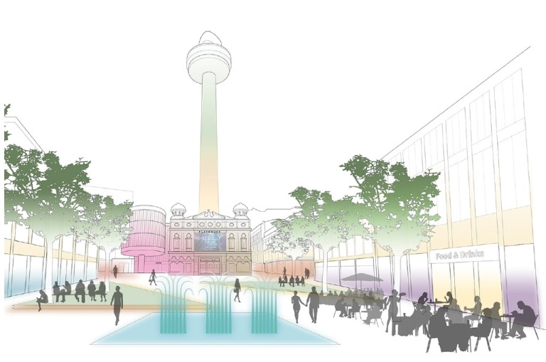 Idea for a new look Williamson Square - Credit Liverpool BID Company and Philips