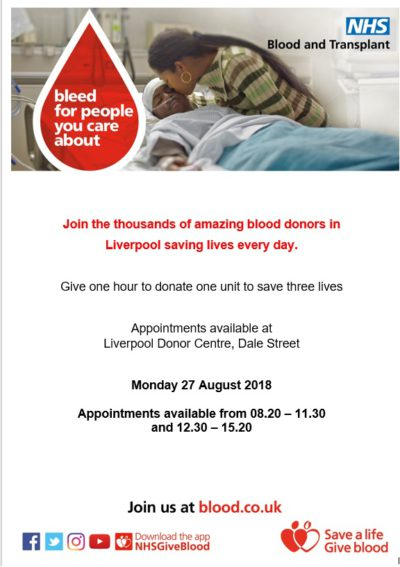 Liverpool Blood Donor Centre, needs donors this bank holiday!