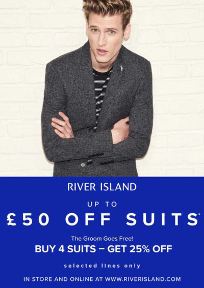Up to £50 off suits at River Island