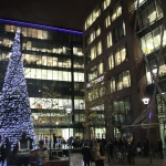 Commercial District Christmas Tree Switch on and Snowflake Trail Sculptures