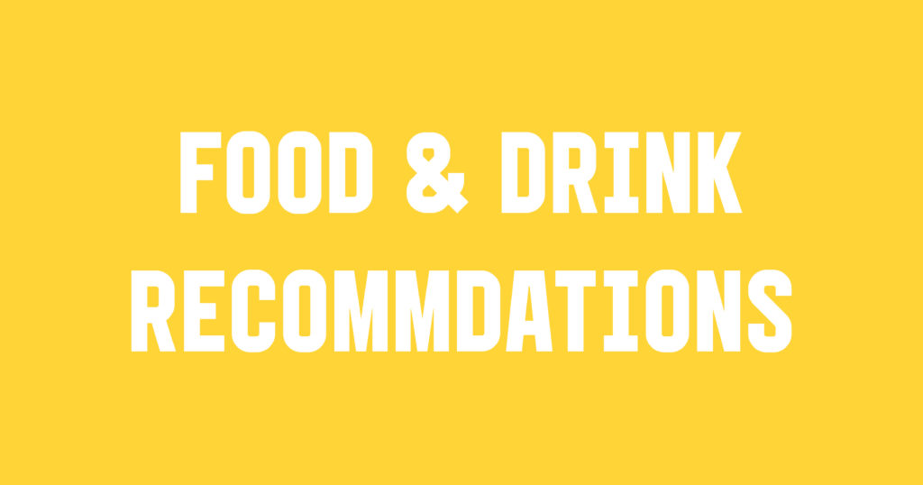 Student Takeover Food & Drink Recommendations