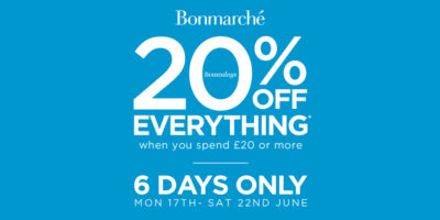 Get 20% off everything at Bonmarché when spending £20 or more.