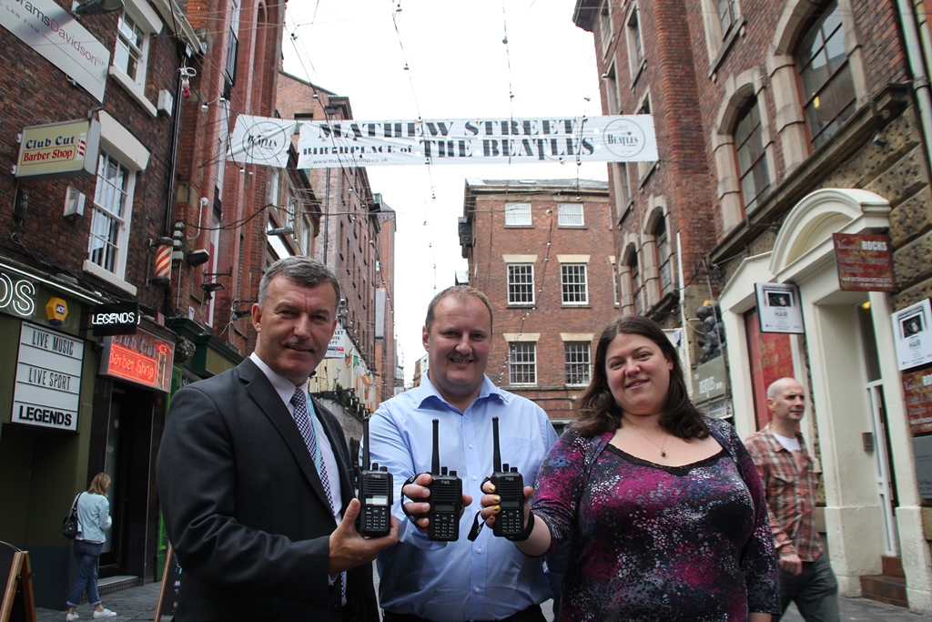 l-r Shaun Holland, Head of Operations, Liverpool BID Company; Mike Edwards, Area Manager, Pub Invest Group; Cllr. Emily Spurrell, Cabinet Member for Community and Safer Neighbourhood, Liverpool City Council