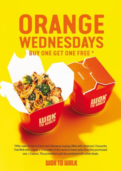 Buy one get one free with Orange Wednesdays with Wok To Walk